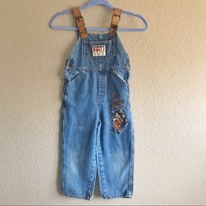 Disney Mickey Denim Overalls Pants Boy Embroidered